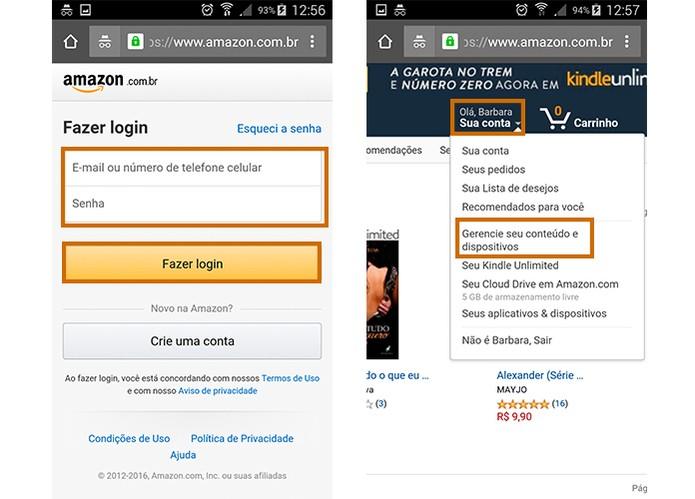 Acesse sua conta do Kindle para visualizar mais informações do dispositivo (Foto: Reprodução/Barbara Mannara)