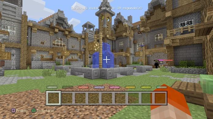 O Lobby do minigame de batalha em Minecraft é um lugar tranquilo para relaxar entre rounds (Foto: Reprodução/Rafael Monteiro)