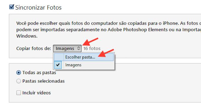 Definindo quais pastas de fotos serão sincronizadas com o iPhone através do iTunes (Foto: Reprodução/Marvin Costa)
