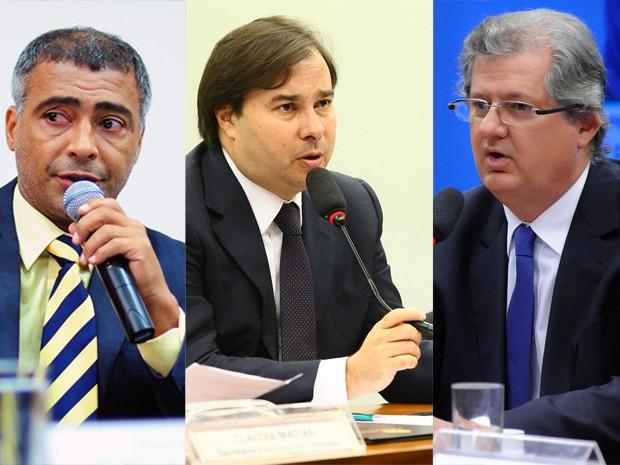 romário faria, senador, Rodrigo Maia, Jutahy Júnior, deputado federal (Foto: Saulo Cruz, Antonio Augusto e Lucio Bernardo Jr./Agência Câmara)
