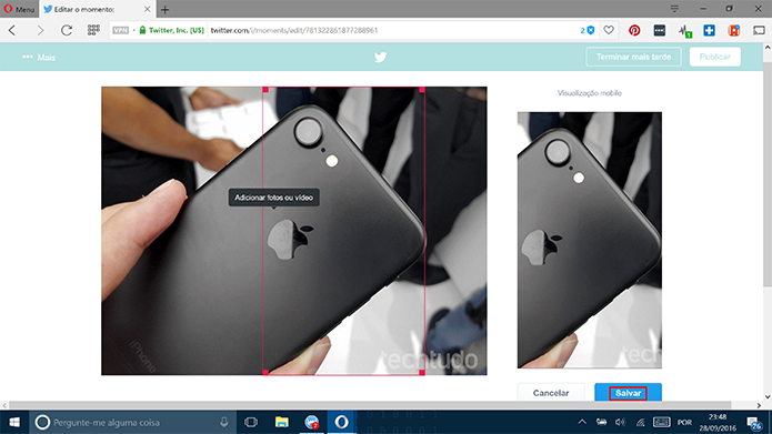 Twitter pedirá que usuário corte imagem em diferentes proporções para capa (Foto: Reprodução/Elson de Souza)