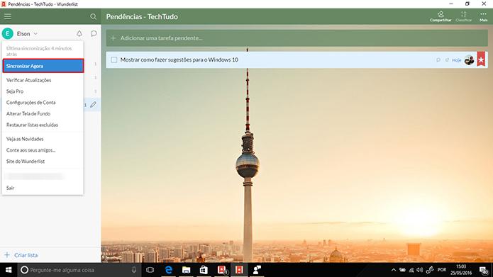 Wunderlist pode sincronizar informações manualmente com comando do usuário (Foto: Reprodução/Elson de Souza)