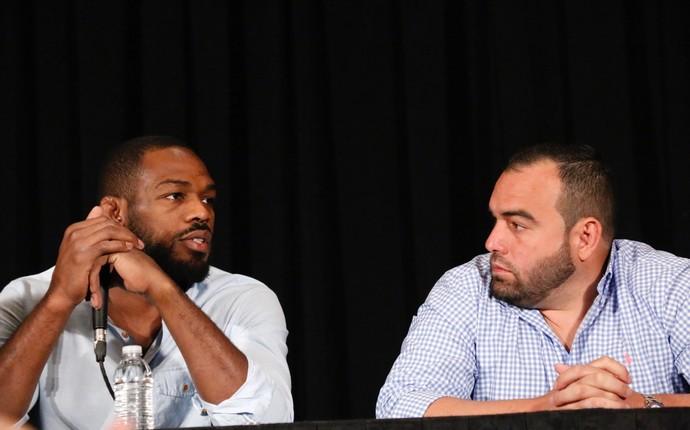 Jon Jones Malki Kawa coletiva de imprensa UFC Las Vegas MMA (Foto: Evelyn Rodrigues)