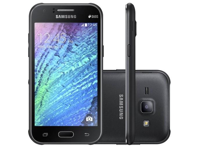 Samsung Galaxy J1 é o smart 4G mais barato da lista. Pode ser encontrado por R$ 349 e tem especificações semelhantes as dos concorrentes.Samsung Galaxy J1 é o smart 4G mais barato da lista. Pode ser encontrado por R$ 349 e tem especificações semelhantes as dos concorrentes. Foto: Divulgação.