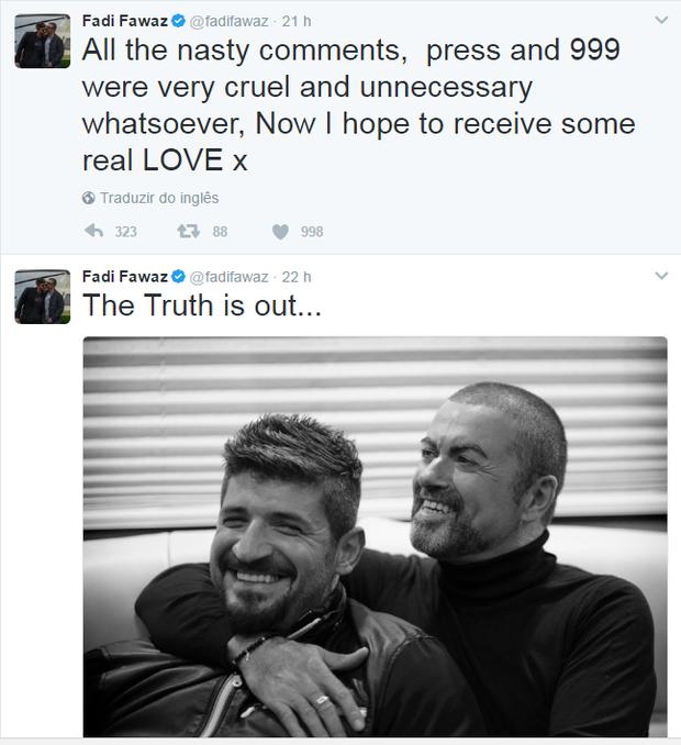 Fadi Fawaz faz post após causa da morte de George Michael ser divulgada (Foto: Reprodução / Twitter)