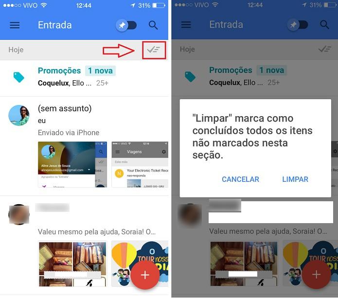 Com o Inbox by Gmail é possível limpar mensagens que não são importanteS (Foto:  Aline Jesus/Reprodução)