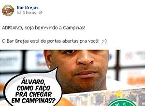 Cervejaria de Campinas se anima com a possibilidade de Adriano defender o Guarani (Foto: Reprodução Facebook)