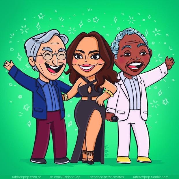 Caetano Veloso, Anitta e Gilberto Gil em ilustração de Vic Matos (Foto: Reprodução/vicmatos)