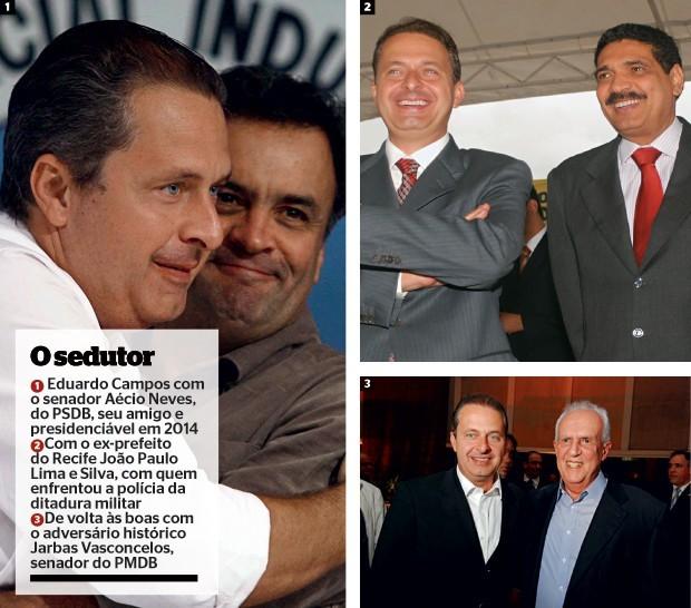 Eduardo Campos mantinha boas relações com diferentes lideranças políticas (Foto: Edson Silva/Folhapress, Bernardo Soares/JC Imagem e Nando Chiappetta/DP/D.A Press)