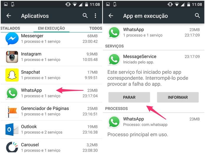 Toque em WhatsApp e pare o que estiver em execução no app (Foto: Reprodução/Lucas Mendes)
