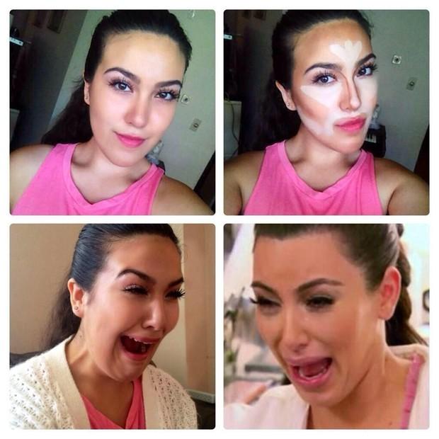 Make up transformation - Kim Kardashian (Foto: Twitter/Reprodução)