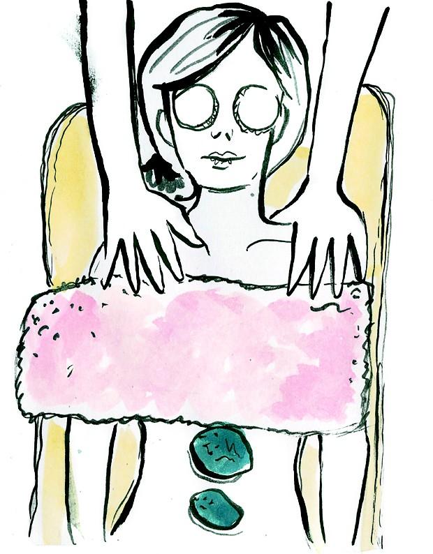 Desenho de mulher na massagem  (Foto: Naíma Saleh)