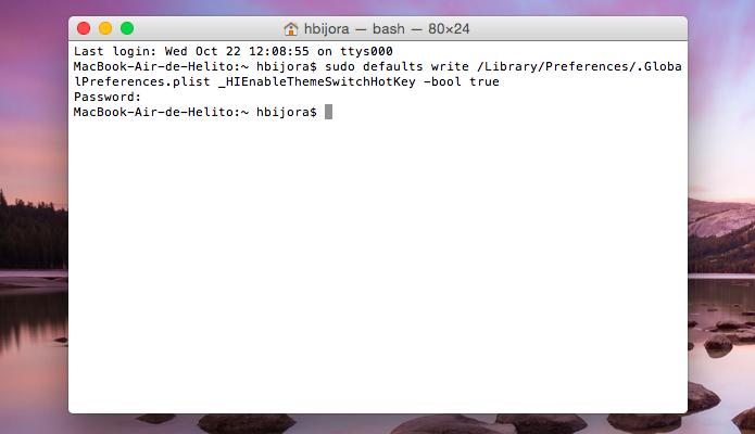 Ativando teclas de atalho para alterar cor do OS X (Foto: Reprodução/Helito Bijora)