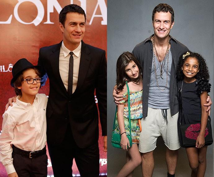 O ator em dois momentos: no lançamento da novela com Xande; e na coletiva, com Sabrina e Bernadete (Foto: Fabio Rocha/Gshow e João Cotta/Globo)