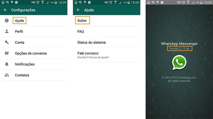 Note que a versão do WhatsApp é exibida na última tela (Foto: Reprodução/Barbara Mannara)
