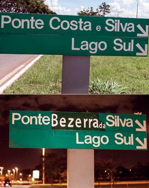 Coletivo de arte de rua 'rebatizou' ponte de Brasília (Foto: Luiz Filipe Barcelos / Reprodução)