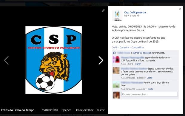 CSP, Paraíba, rede social (Foto: Reprodução/Facebook)