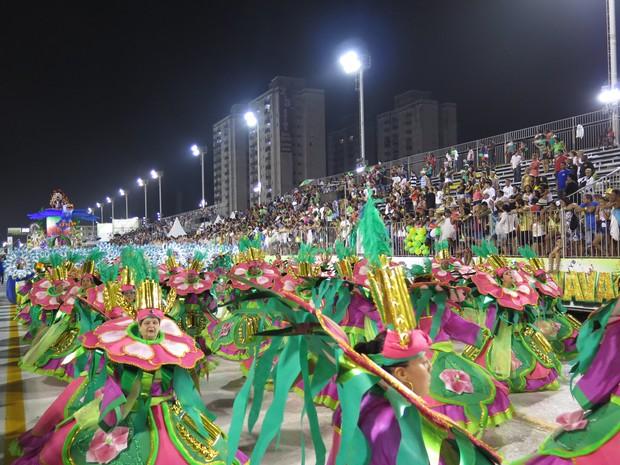 Público cantou junto com ala musical da X-9 no último dia de desfile em Santos (Foto: Orion Pires/G1)
