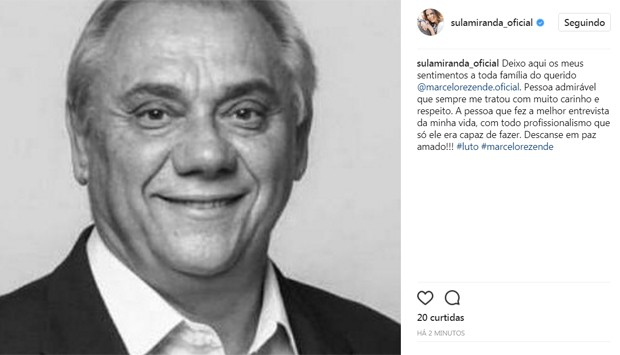 Sula Miranda lamenta morte de Marcelo Rezende (Foto: Reprodução/Instagram)