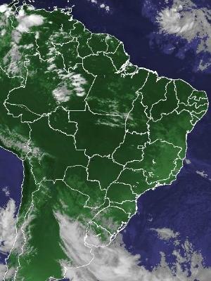 Imagem de satélite capturada na tarde desta terça-feira (29) (Foto: Reprodução/Cptec/Inpe)