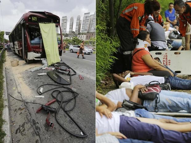 ônibus que colidiu por trás em outro coletivo teve a dianteira destruída. À direita, passageiros recebem cuidados médicos (Foto: Nelson Antoine/Fotoarena/Estadão Conteúdo)