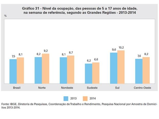Segundo o IBGE, o nível de ocupação, entre crianças e adolescentes de 5 a 17 anos, foi maior em todas as regiões em 2014 (Foto: Reprodução / IBGE)
