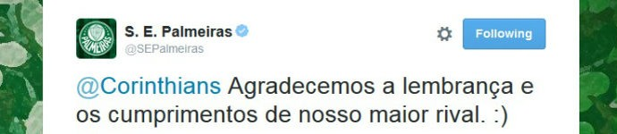 Palmeiras responde ao Corinthians no Twitter: cordialidade entre rivais (Foto: reprodução / Twitter)