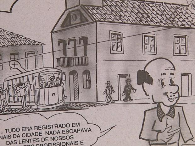 Página da história em quadrinhos sobre os bondes de São Carlos (Foto: Marlon Tavoni/EPTV)