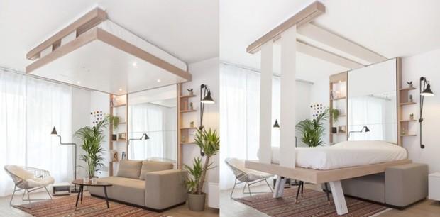 Sala e quarto ao mesmo tempo, ocupando o mesmo espaço, e nenhum dos dois ambientes perde o conforto por dividirem o espaço (Foto: Divulgação)