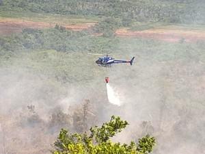 Helicóptero do Graer foi enviado nesta quinta para judar no combte ao fogo (Foto: Divulgação/Polícia Militar)