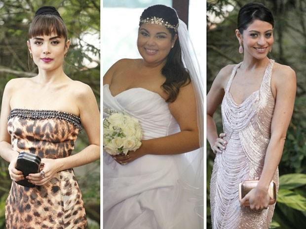 As noivas e suas madrinhas capricharam na produção (Foto: Pedro Curi / TV Globo)