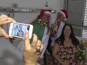 Pacientes de hospital de São José receberam visita dos Doutores do Riso (Foto: Reprodução/ TV Vanguarda)