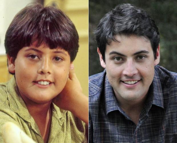 Bruno De Luca na infância e agora (Foto: Caldeirão do Huck/TV Globo)