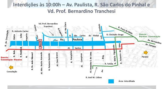 Avenida Paulista tem transposições liberadas às 10h desta quinta-feira (31) (Foto: Divulgação: CET)