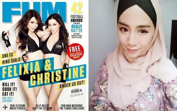 Jovem foi capa de revista como ring girl antes de se converter (Foto: Reprodução/Facebook/Felixia Yeap)