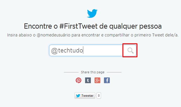 Ferramenta para localizar primeiro tuíte exige apenas o nome do usuário do Twitter (Foto: Reprodução//Elson de Souza)
