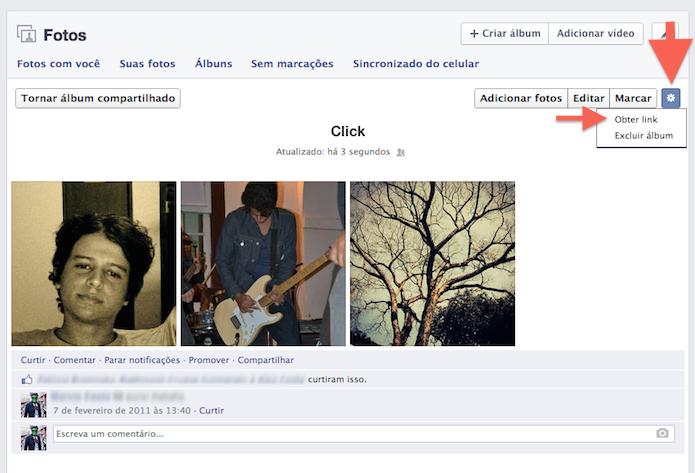 Obtendo o link de compartilhamento de um álbum do Facebook (Foto: Reprodução/Marvin Costa)