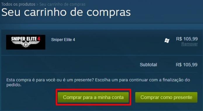 Compra de Sniper Elite 4 no Steam pode ser feita com diferentes formas de pagamento (Foto: Reprodução/Felipe Demartini)