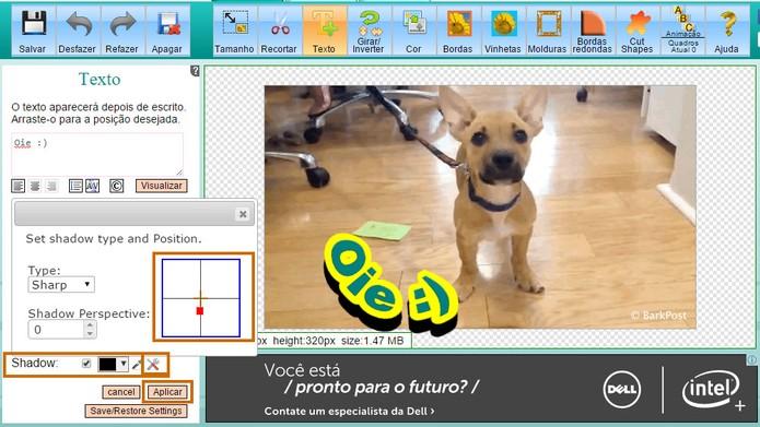 Ajuste a sombra e a distância no texto do GIF pelo computador (Foto: Reprodução/Barbara Mannara)