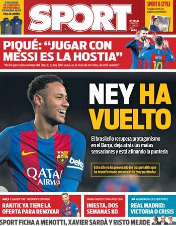 Neymar na capa do Sport (Foto: Reprodução / Sport)