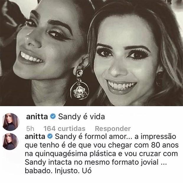 Anitta tieta Sandy  (Foto: Reprodução/Instagram)