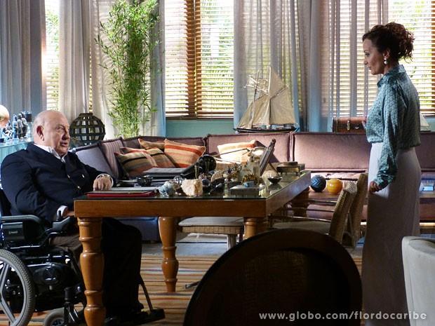 Guiomar propõe não trazer crianças para mansão caso ganhe uma casa (Foto: Flor do Caribe / TV Globo)