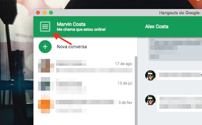 Acesso à tela de opções do Google Hangouts para Google Chrome (Foto: Reprodução/Marvin Costa)