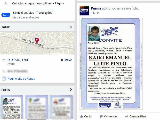 Velório de menino que morreu atropelado por carro de doces no Natal em Avaré (Foto: Reprodução/Facebook)