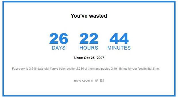 Calculadora mostra quanto tempo usuário passou no Facebook desde 2007. (Foto: Revista Time)