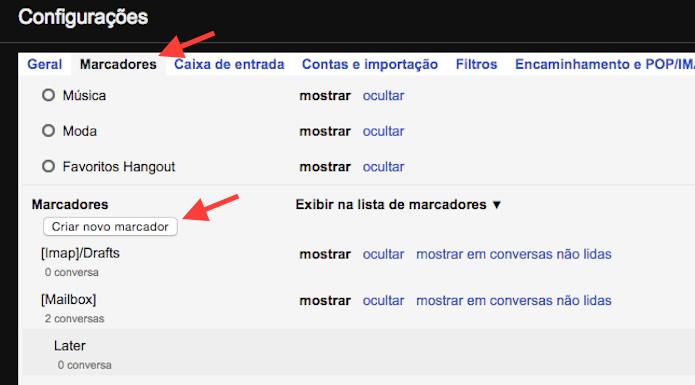 Iniciando a criação de um marcador personalizado no Gmail (Foto: Reprodução/Marvin Costa)