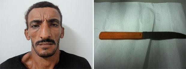 Wagner Gomes e faca usada no crime (Foto: Divulgação/Polícia Civil do RN)