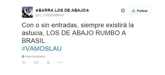 Twitter Los de Abajo Universidad do Chile (Foto: Reprodução)