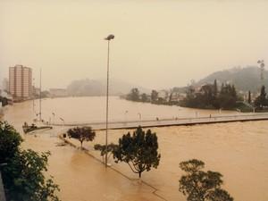 Rio Itajaí-Açu chegou ao nível de 15 metros (Foto: Fundação Cultural de Blumenau/Arquivo Histórico José Ferreira da Silva)