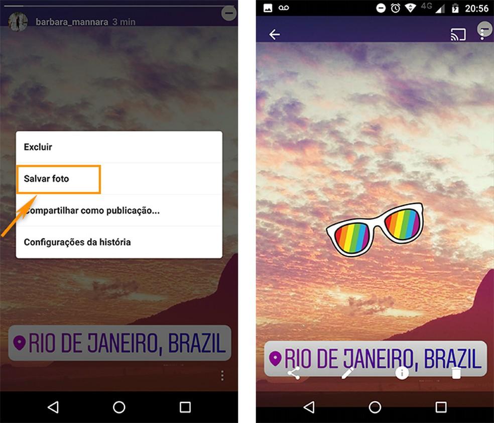 Salve a postagem dos Stories no Android (Foto: Reprodução/Barbara Mannara)